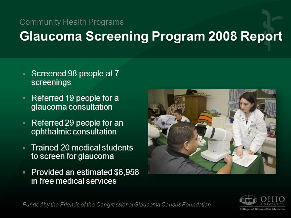 Glaucoma Screening Program 2008 Report  Screened 98 people at 7 screenings  Referred 19 people for a glaucoma consultation  Referred 29 people for