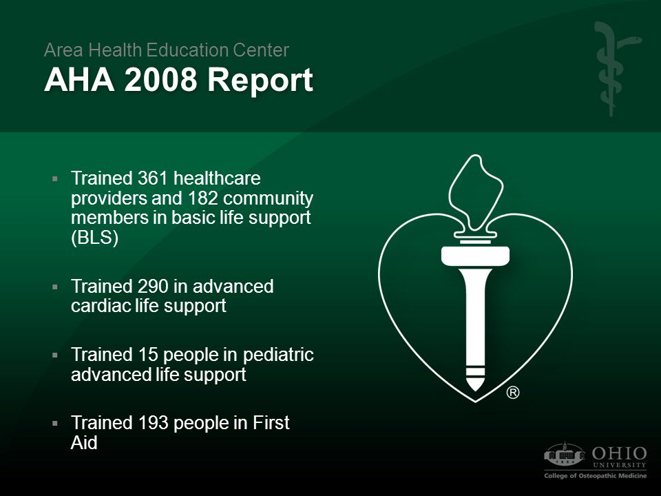 AHA 2008 Report  Trained 361 healthcare providers and 182 community members in basic life support (BLS)  Trained 290 in advanced cardiac life suppor