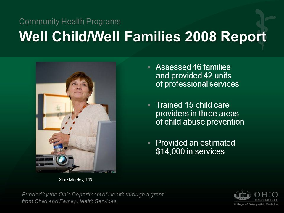 Healthy Child Care Ohio (HCCO) Overview  Educates and consults child care providers on health and safety issues  Provides free hearing and vision screenings and medical referrals for children ages 3-6 Sue Meeks, RN, and Debbie White, RN Community Health Programs