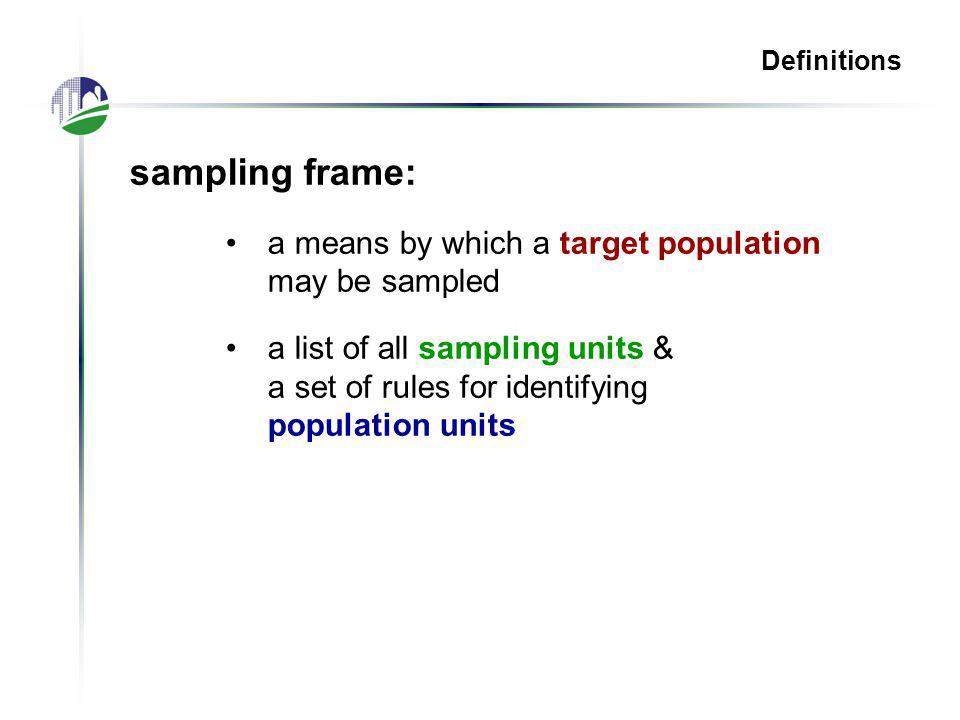 NASS List Frame Sampling Techniques: Simple Random Sampling (SRS) Systematic Sampling Stratified Sampling Probability Proportional to Size (PPS) Multivariate Probability Proportional to Size (MPPS) Permanent Random Number (PRN)