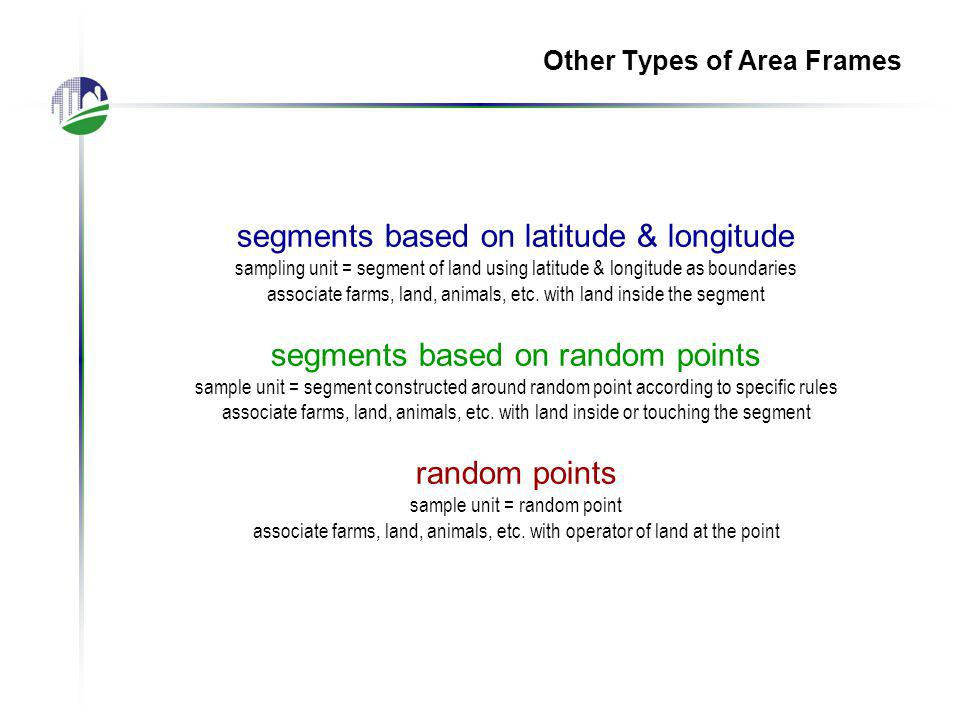 Other Types of Area Frames segments based on latitude & longitude sampling unit = segment of land using latitude & longitude as boundaries associate farms, land, animals, etc.
