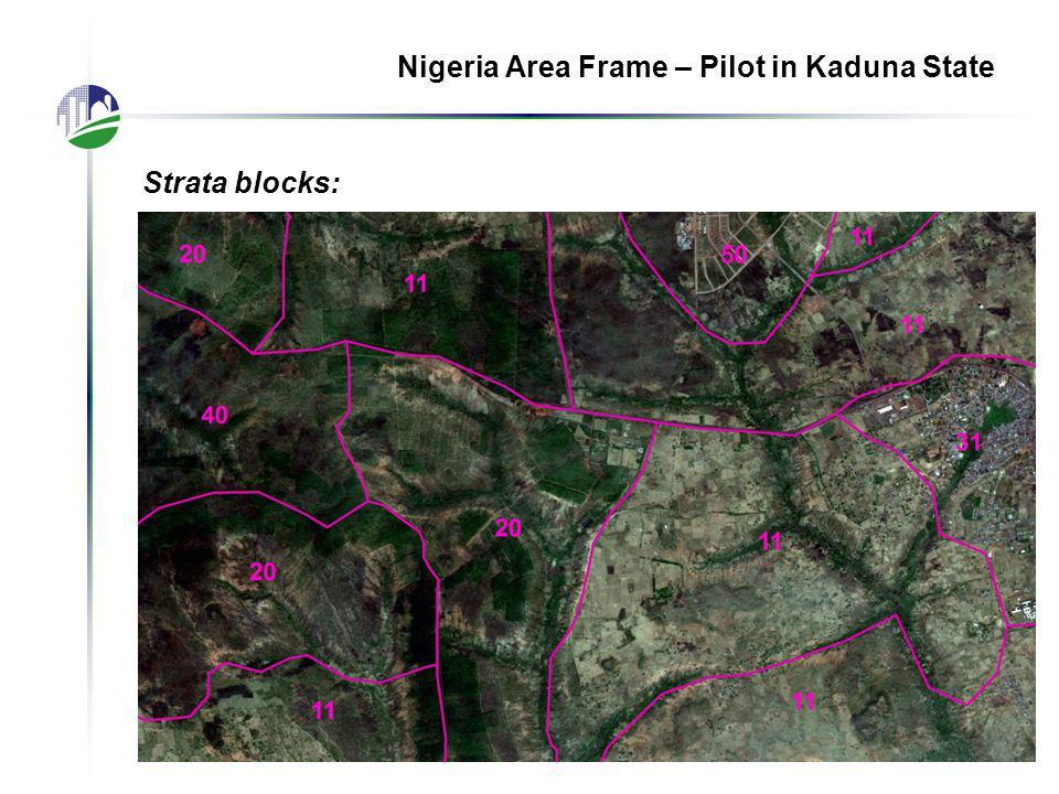 Nigeria Area Frame – Pilot in Kaduna State Strata blocks: