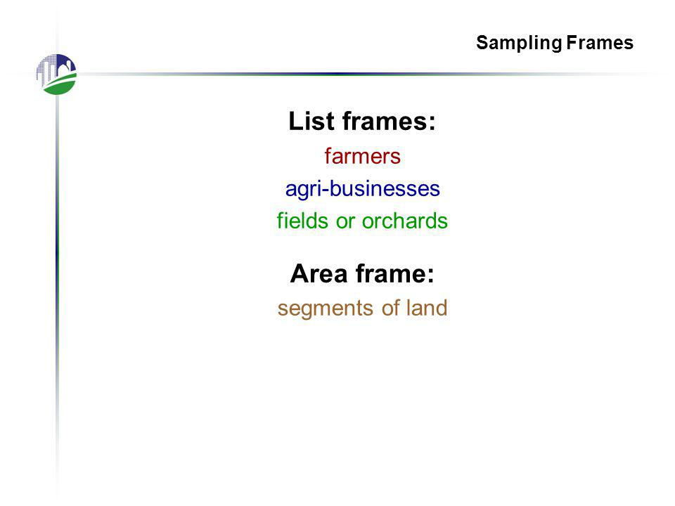 Sampling Frames List frames: farmers agri-businesses fields or orchards Area frame: segments of land