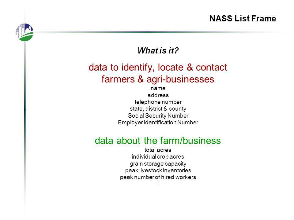 NASS Area Frame Data collection: