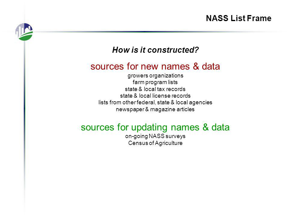 NASS List Frame How is it constructed.