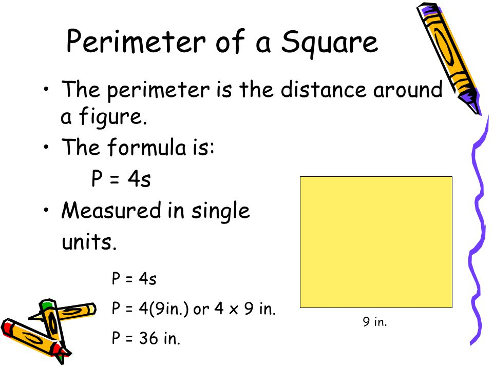 Perimeter of a Square The perimeter is the distance around a figure. The formula is: P = 4s Measured in single units. 9 in. P = 4s P = 4(9in.) or 4 x