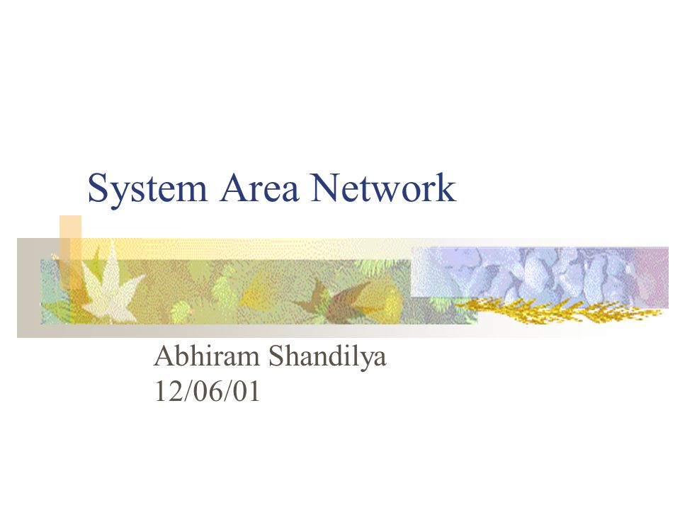 Overview Introduction to System Area Networks SAN Design and Examples SAN Applications