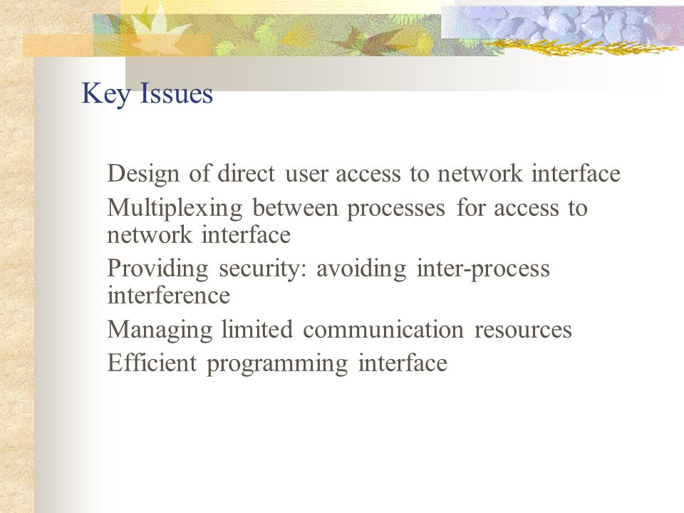 Key Issues Design of direct user access to network interface Multiplexing between processes for access to network interface Providing security: avoiding inter-process interference Managing limited communication resources Efficient programming interface
