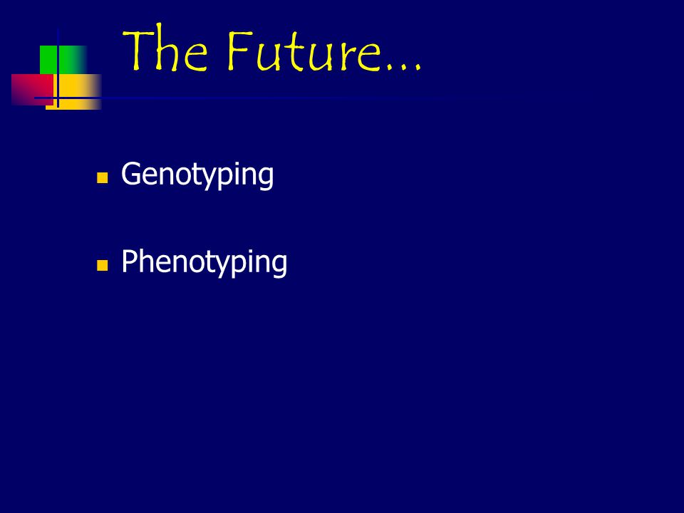 The Future... Genotyping Phenotyping