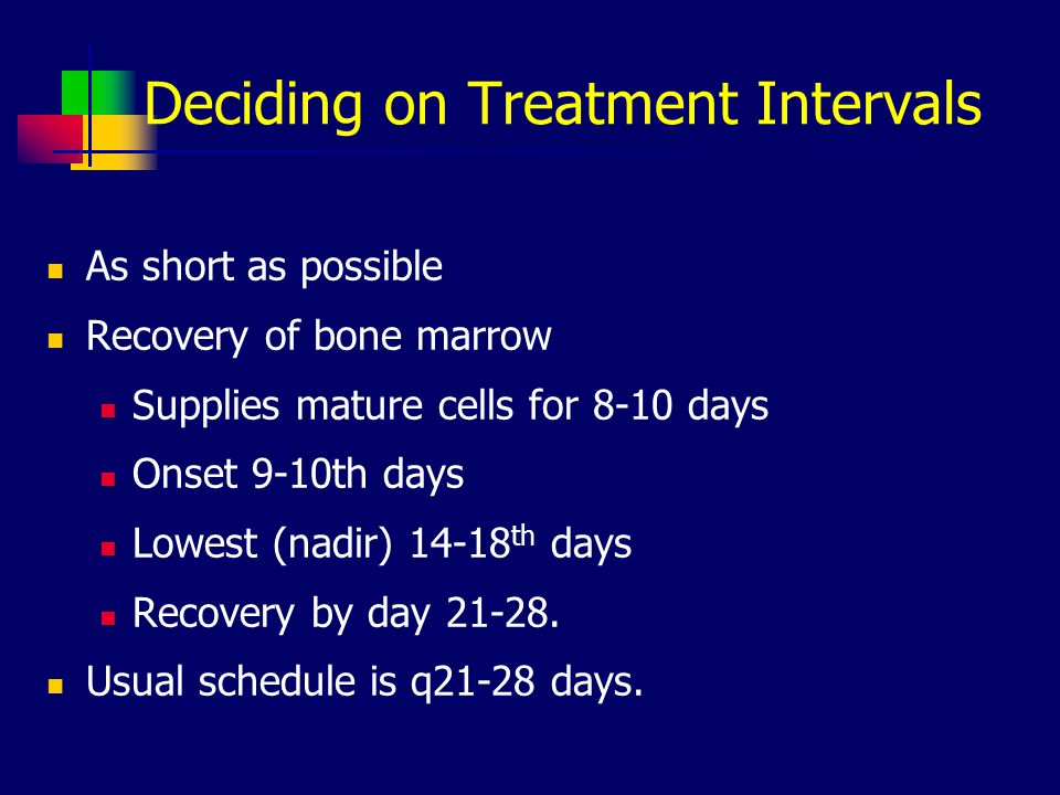 Deciding on Treatment Intervals As short as possible Recovery of bone marrow Supplies mature cells for 8-10 days Onset 9-10th days Lowest (nadir) 14-18 th days Recovery by day 21-28.