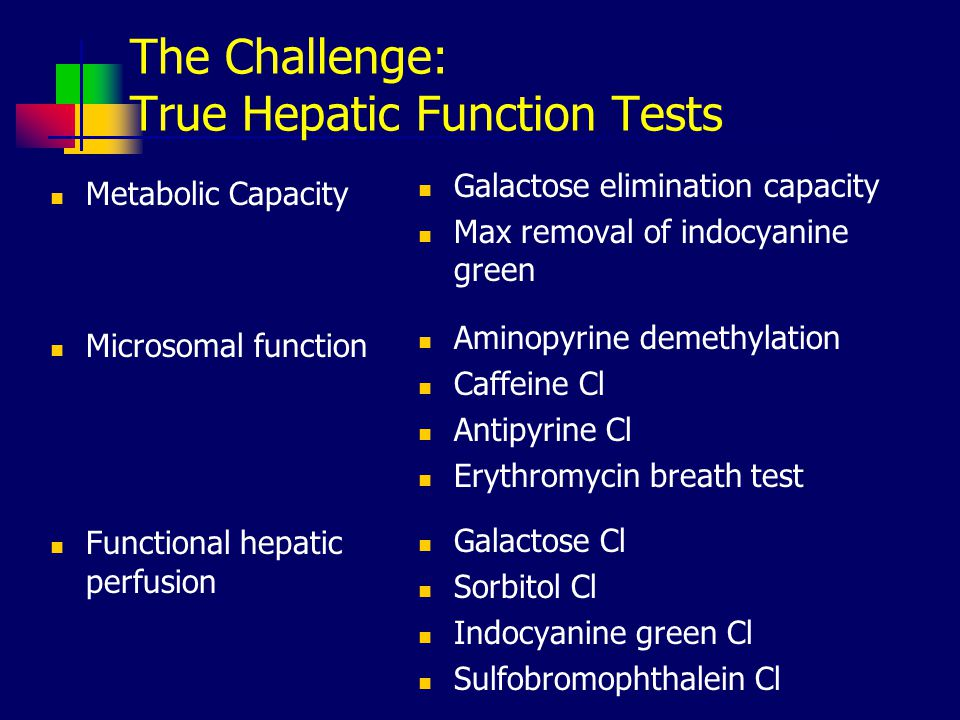 The Challenge: True Hepatic Function Tests Metabolic Capacity Microsomal function Functional hepatic perfusion Galactose elimination capacity Max removal of indocyanine green Aminopyrine demethylation Caffeine Cl Antipyrine Cl Erythromycin breath test Galactose Cl Sorbitol Cl Indocyanine green Cl Sulfobromophthalein Cl