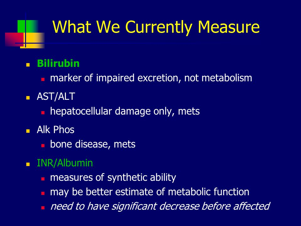 What We Currently Measure Bilirubin marker of impaired excretion, not metabolism AST/ALT hepatocellular damage only, mets Alk Phos bone disease, mets INR/Albumin measures of synthetic ability may be better estimate of metabolic function need to have significant decrease before affected