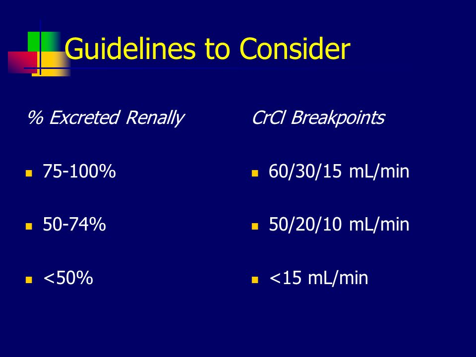 Guidelines to Consider % Excreted Renally 75-100% 50-74% <50% CrCl Breakpoints 60/30/15 mL/min 50/20/10 mL/min <15 mL/min