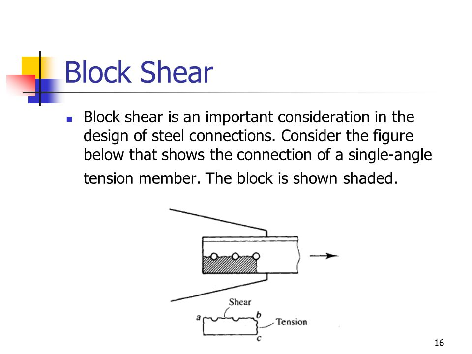 16 Block Shear Block shear is an important consideration in the design of steel connections. Consider the figure below that shows the connection of a