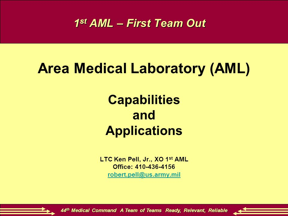 44 th Medical Command A Team of Teams Ready, Relevant, Reliable 1 st AML – First Team Out Area Medical Laboratory (AML) Capabilities and Applications