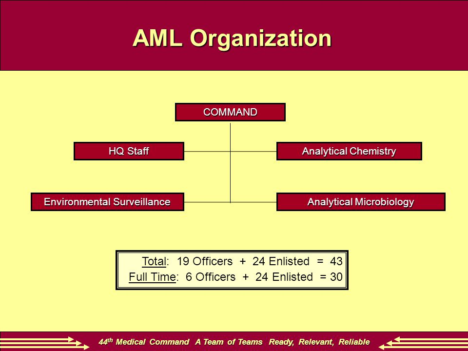 44 th Medical Command A Team of Teams Ready, Relevant, Reliable AML Organization Total: 19 Officers + 24 Enlisted = 43 Full Time: 6 Officers + 24 Enli