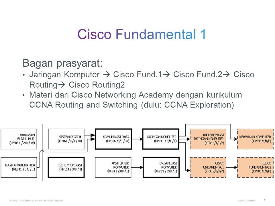 Cisco Confidential © 2012 Cisco and/or its affiliates. All rights reserved. 2 Bagan prasyarat: Jaringan Komputer  Cisco Fund.1  Cisco Fund.2  Cisco