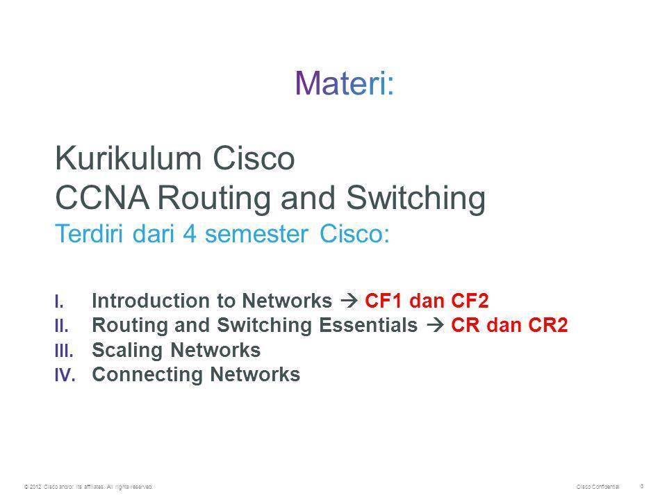 Cisco Confidential © 2012 Cisco and/or its affiliates. All rights reserved. 3 Kurikulum Cisco CCNA Routing and Switching Terdiri dari 4 semester Cisco