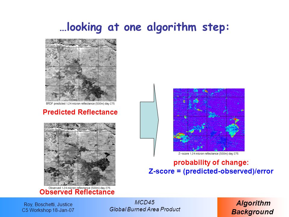 Roy, Boschetti, Justice C5 Workshop 18-Jan-07 MCD45 Global Burned Area Product …looking at one algorithm step: Observed Reflectance Predicted Reflectance probability of change: Z-score = (predicted-observed)/error Algorithm Background