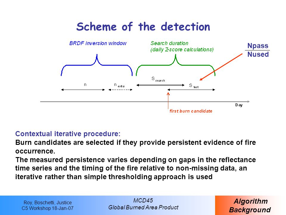 Roy, Boschetti, Justice C5 Workshop 18-Jan-07 MCD45 Global Burned Area Product Scheme of the detection Algorithm Background Contextual iterative procedure: Burn candidates are selected if they provide persistent evidence of fire occurrence.