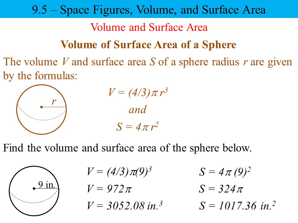 9.5 – Space Figures, Volume, and Surface Area Volume of Surface Area of a Sphere r The volume V and surface area S of a sphere radius r are given by t