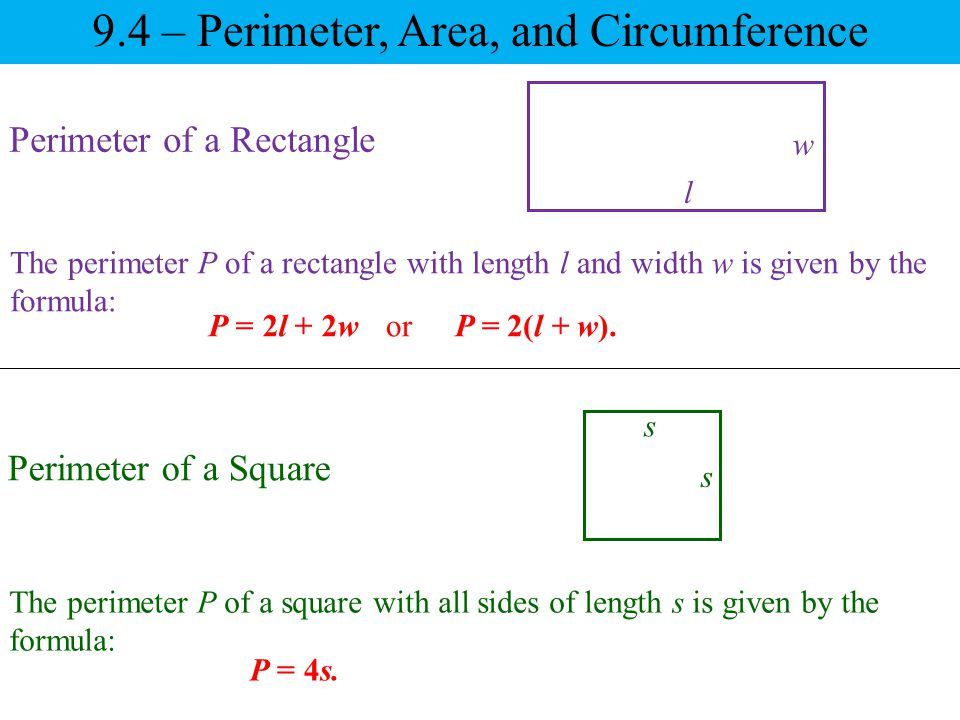9.4 – Perimeter, Area, and Circumference Area of a Polygon The amount of plane surface covered by a polygon is called its area.
