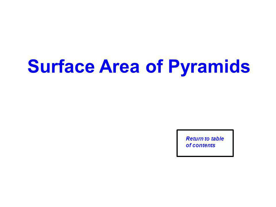 Surface Area of Pyramids Return to table of contents