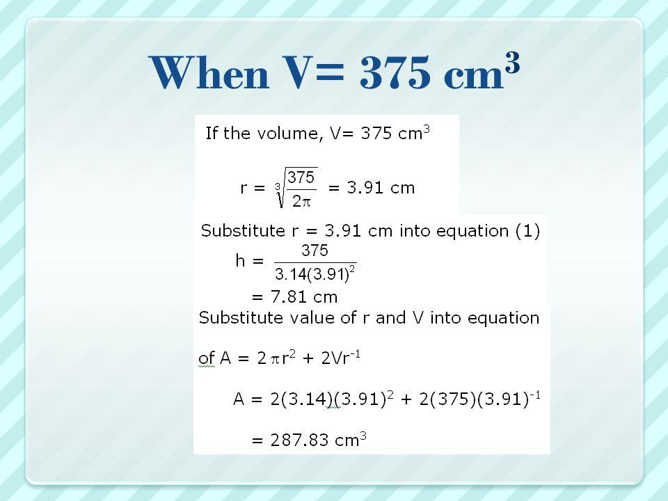 When V= 375 cm 3