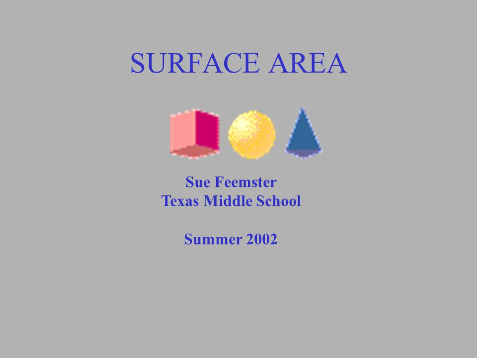 SURFACE AREA Sue Feemster Texas Middle School Summer 2002