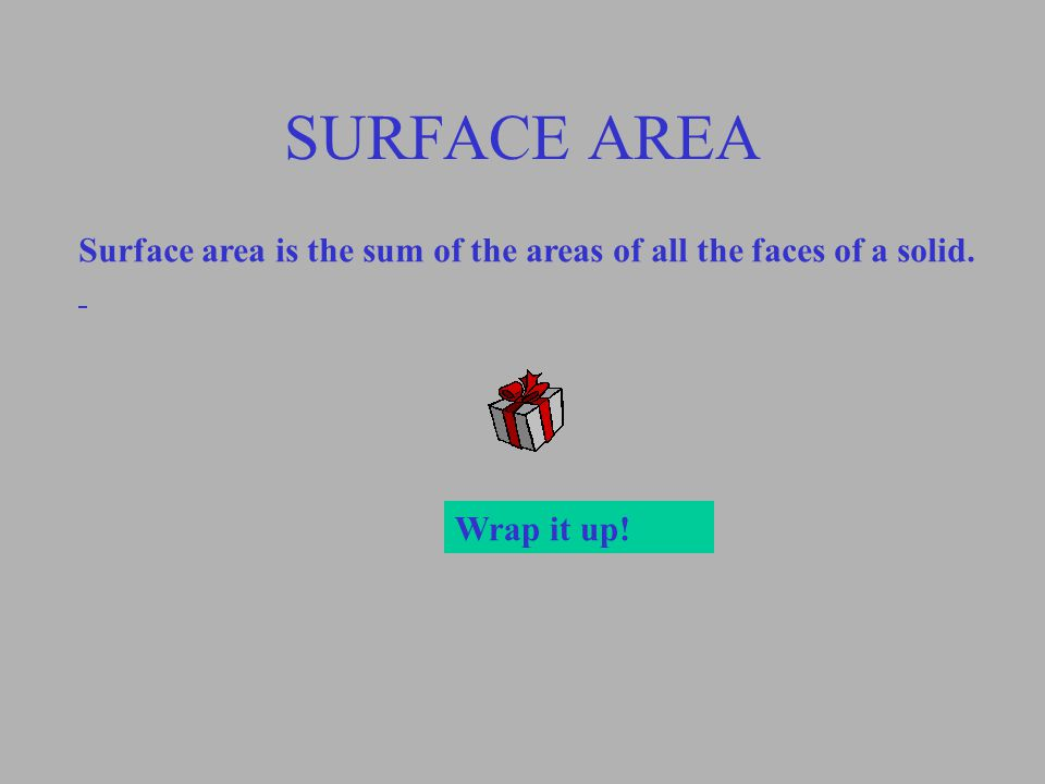 SURFACE AREA Surface area is the sum of the areas of all the faces of a solid. Wrap it up!