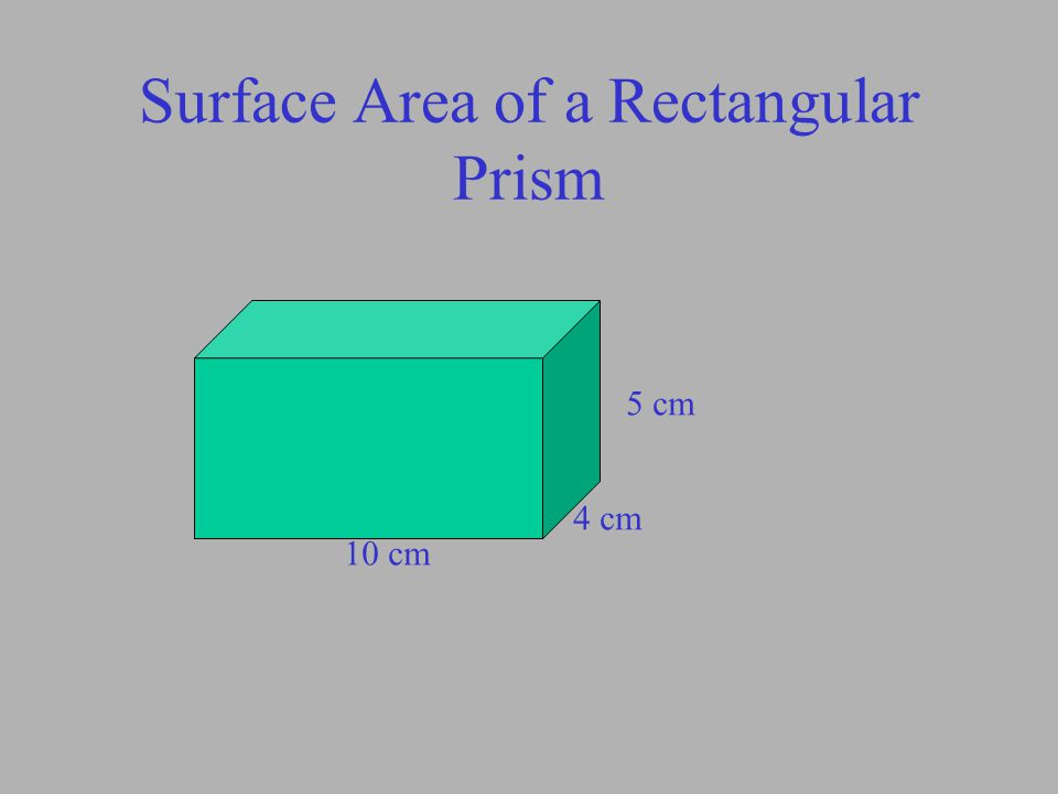 Surface Area of a Rectangular Prism 5 cm 4 cm 10 cm TOP FRONT SIDE