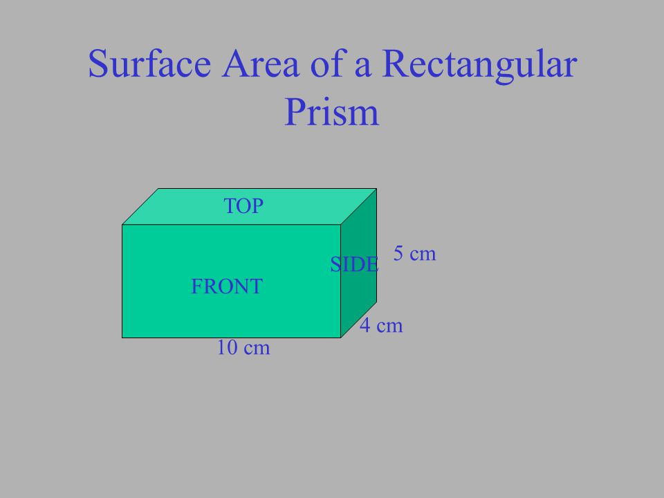Surface Area of a Rectangular Prism 5 cm 4 cm 10 cm TOP FRONT SIDE Area of top and bottom A=LW A=10x4 = 40 x 2 = 80cm 2