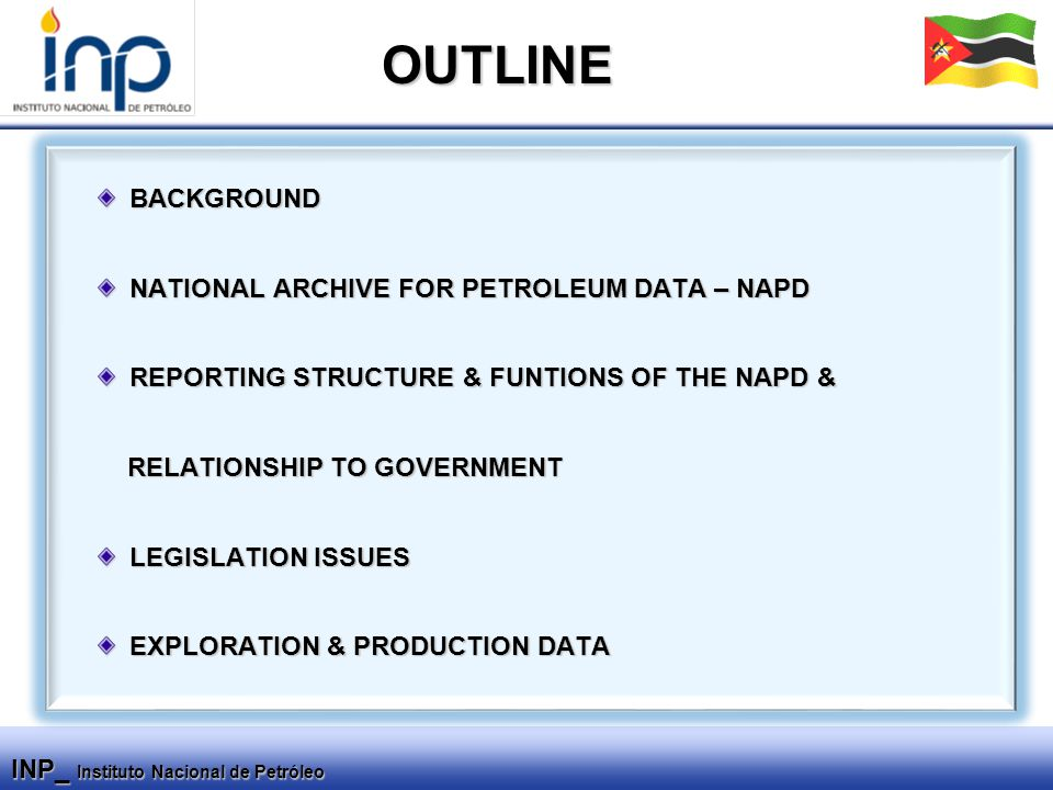 INP_ Instituto Nacional de Petróleo BACKGROUND NATIONAL ARCHIVE FOR PETROLEUM DATA – NAPD REPORTING STRUCTURE & FUNTIONS OF THE NAPD & RELATIONSHIP TO