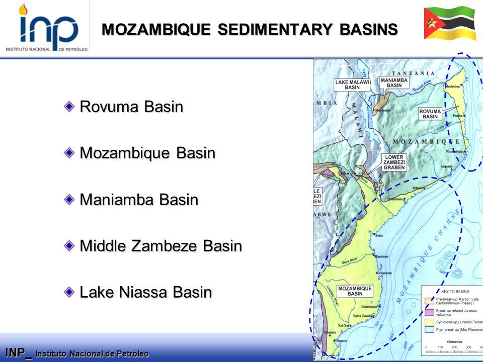 INP_ Instituto Nacional de Petróleo MOZAMBIQUE SEDIMENTARY BASINS Rovuma Basin Rovuma Basin Mozambique Basin Mozambique Basin Maniamba Basin Maniamba Basin Middle Zambeze Basin Middle Zambeze Basin Lake Niassa Basin Lake Niassa Basin