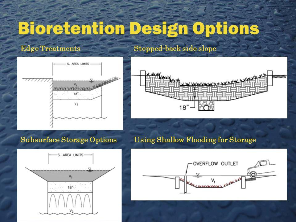 Bioretention Design Options Edge Treatments Subsurface Storage Options Stepped-back side slope Using Shallow Flooding for Storage