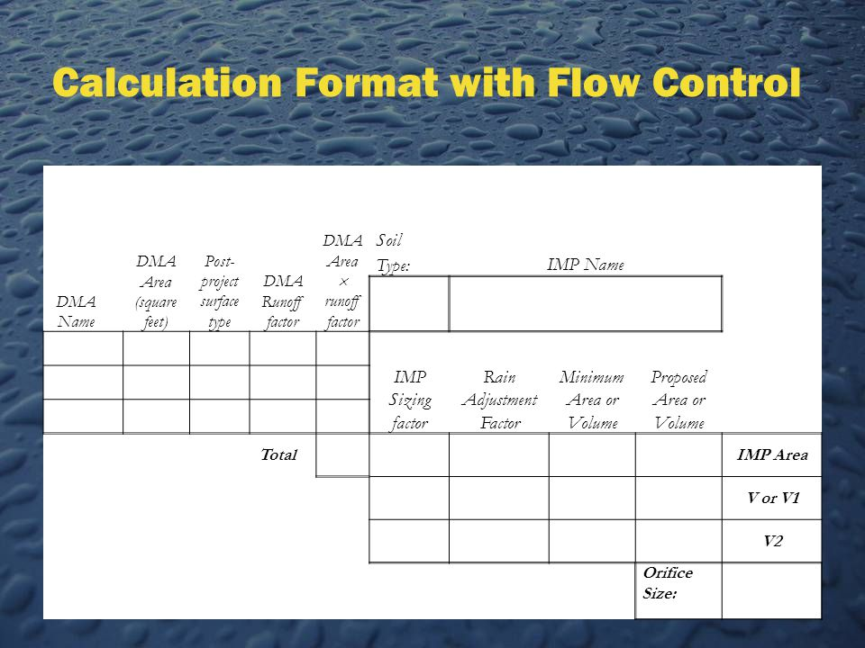 Calculation Format with Flow Control DMA Name DMA Area (square feet) Post- project surface type DMA Runoff factor DMA Area  runoff factor Soil Type:IMP Name IMP Sizing factor Rain Adjustment Factor Minimum Area or Volume Proposed Area or Volume TotalIMP Area V or V1 V2 Orifice Size: