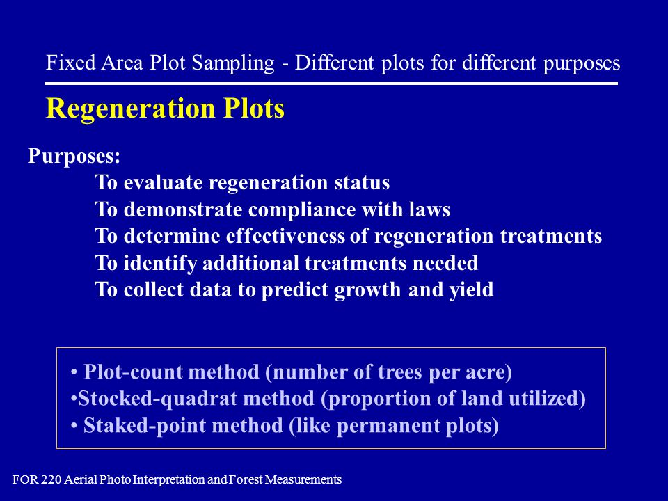 Purposes: To evaluate regeneration status To demonstrate compliance with laws To determine effectiveness of regeneration treatments To identify additi