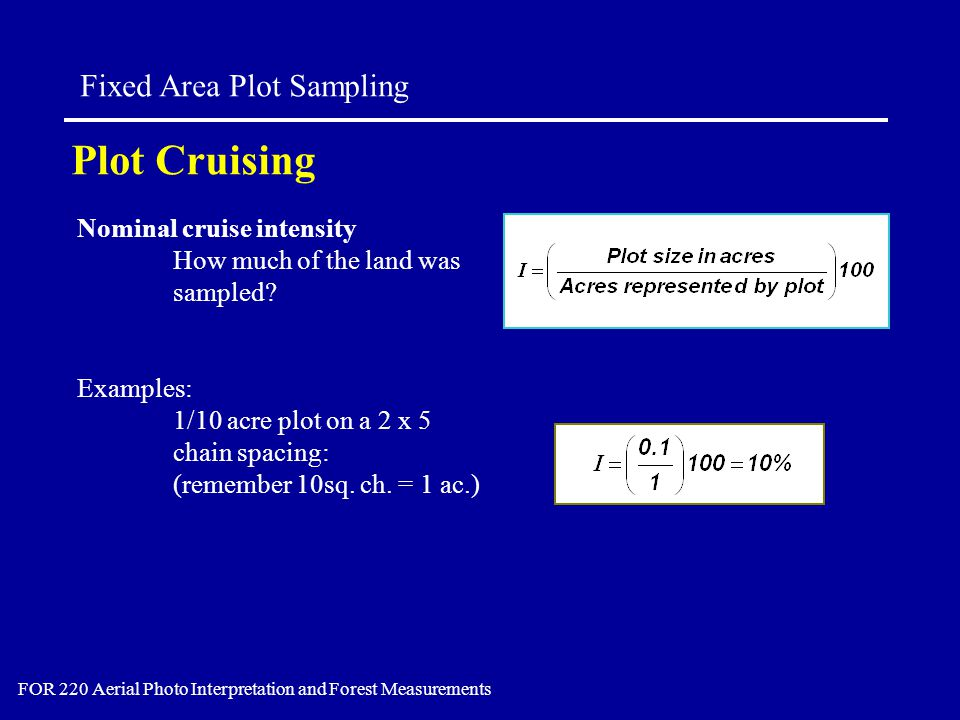Nominal cruise intensity How much of the land was sampled? Examples: 1/10 acre plot on a 2 x 5 chain spacing: (remember 10sq. ch. = 1 ac.) Plot Cruisi