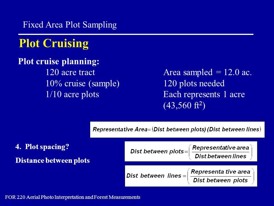 Plot Cruising Fixed Area Plot Sampling FOR 220 Aerial Photo Interpretation and Forest Measurements 4.