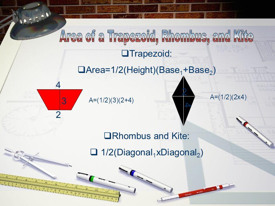  Trapezoid:  Area=1/2(Height)(Base 1 +Base 2 )  Rhombus and Kite:  1/2(Diagonal 1 xDiagonal 2 ) 4 2 A=(1/2)(3)(2+4) 3 2 4 A=(1/2)(2x4)