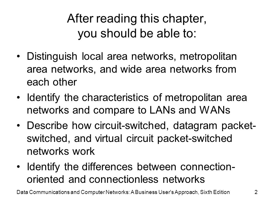 Data Communications and Computer Networks: A Business User's Approach, Sixth Edition2 After reading this chapter, you should be able to: Distinguish l
