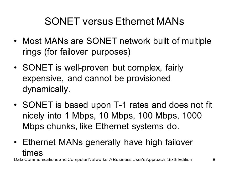 SONET versus Ethernet MANs Most MANs are SONET network built of multiple rings (for failover purposes) SONET is well-proven but complex, fairly expens