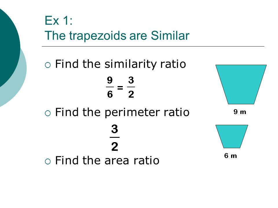 Ex 1: The trapezoids are Similar  Find the similarity ratio  Find the perimeter ratio  Find the area ratio