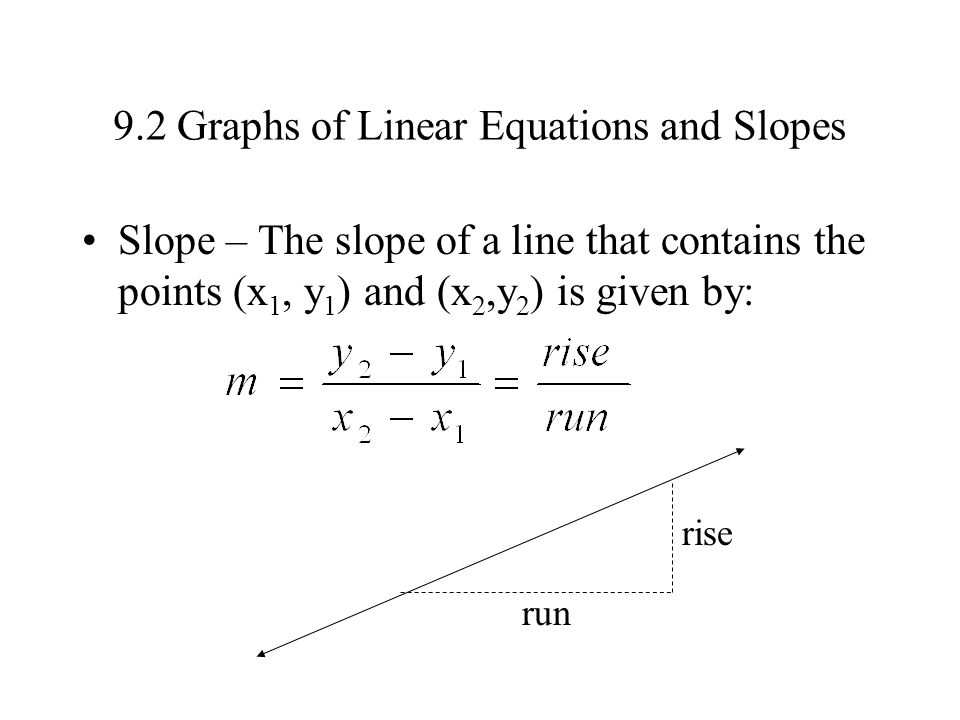9.2 Graphs of Linear Equations and Slopes Slope – The slope of a line that contains the points (x 1, y 1 ) and (x 2,y 2 ) is given by: rise run