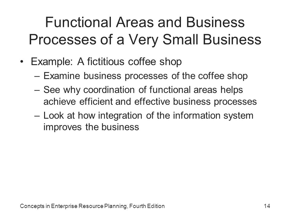 Concepts in Enterprise Resource Planning, Fourth Edition14 Functional Areas and Business Processes of a Very Small Business Example: A fictitious coff