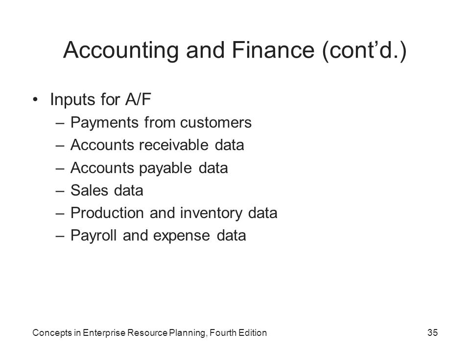 Concepts in Enterprise Resource Planning, Fourth Edition35 Accounting and Finance (cont'd.) Inputs for A/F –Payments from customers –Accounts receivab