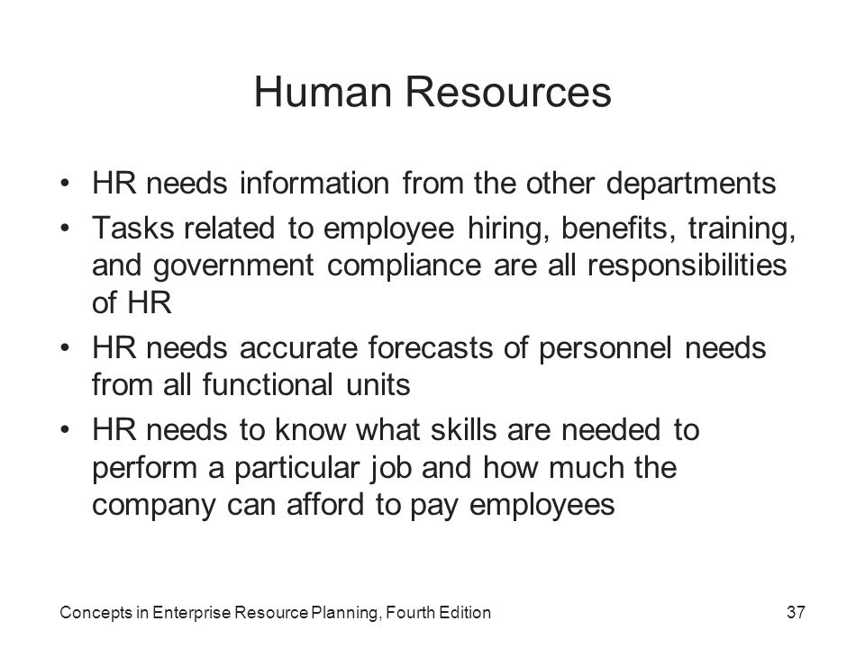 Concepts in Enterprise Resource Planning, Fourth Edition37 Human Resources HR needs information from the other departments Tasks related to employee h