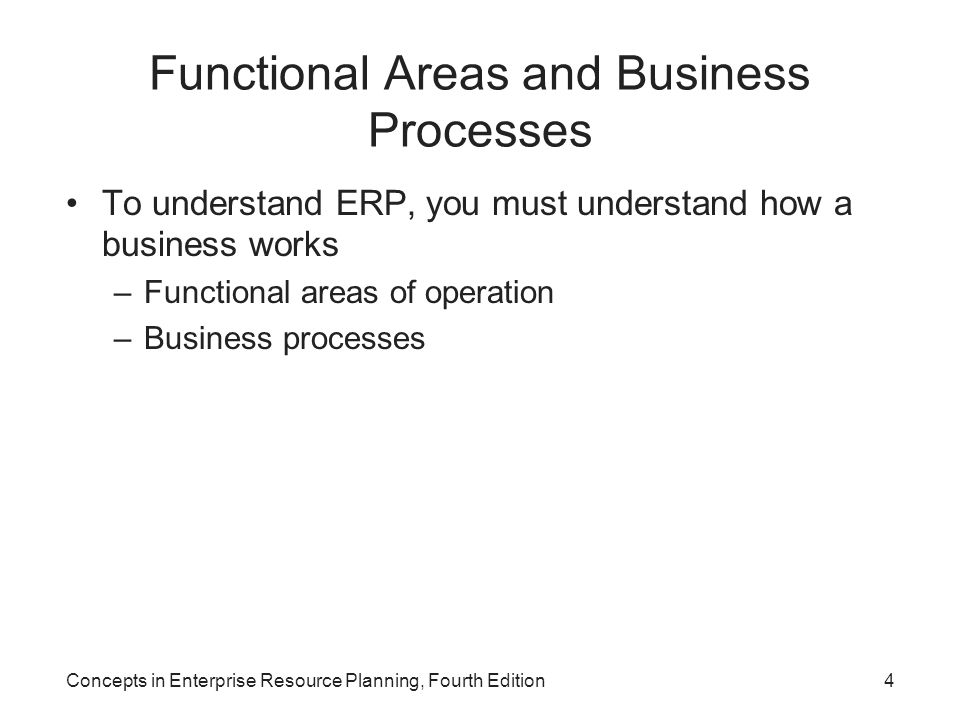 Functional Areas and Business Processes To understand ERP, you must understand how a business works –Functional areas of operation –Business processes