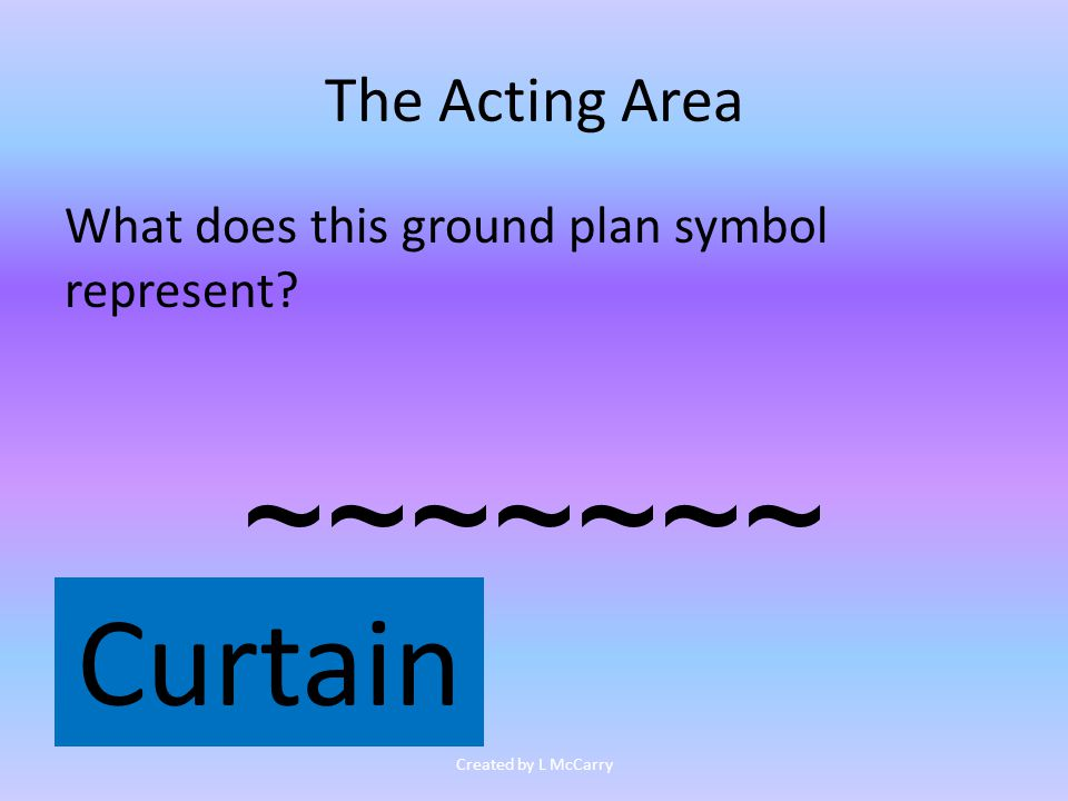 The Acting Area What does this ground plan symbol represent ~~~~~~~ Curtain Created by L McCarry