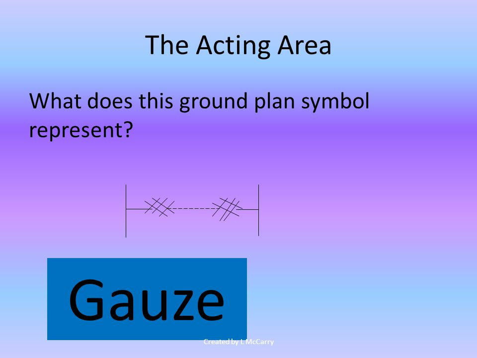 The Acting Area What does this ground plan symbol represent Gauze Created by L McCarry